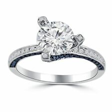 1ct Round Cut Diamond Blue Sapphire Solitaire Engagement Ring 14k White Gold Ovr