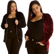 New Womens Plus Size Jacket Ladies Bomber Style Velvet Soft Party Shiny Varsity