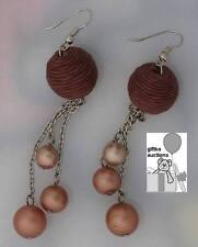 Costume Fashion Jewelry Handmade Brown Dangling Earrings with Pearl Design