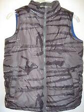 Old Navy Vest Fleece Lined Size Large 10/12 Snowboard Pattern Gray