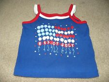 The Children's Place Toddler Girls Blue Red White 4th Short Sleeve Top Shirt 4T