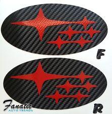 08-14 WRX STi SEDAN Precut Carbon Fiber Vinyl Emblem Overlays Wrap Badge F/R