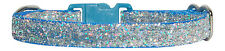 """light blue & silver sparkle chihuahua dog puppy collar 8""""-12"""" 20-30 cm"""