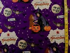 WITCHES BEWITCHING SPOOKY  HALLOWEEN PRINT 100% COTTON FABRIC BY THE 1/2 YARD