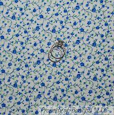 BonEful Fabric FQ Cotton Quilt White Blue Green Rose Flower Girl Boy Calico Leaf