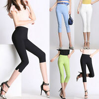 Fashion Womens Casual High Waist Pencil Pants Slim Fit Capris Cropped Trousers