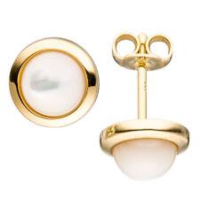 Ohrstecker rund 333 Gold Gelbgold 2 Perlmutt-Steine Ohrringe Goldohrringe
