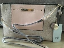 acd3af18e RIVER ISLAND gold mix suede panel chain cross body bag new WITH TAGS