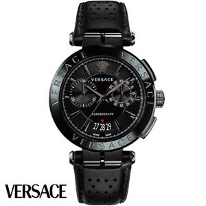 Versace VE1D00519 Aion Chronograph black Leather Men's Watch NEW