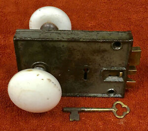 Antique Rim Lock Set with Key, Brass Latch and White Marble Knobs