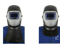 WELDAS Welder Front Neck Protection, Black Leather (choose length) HIGH QUALITY