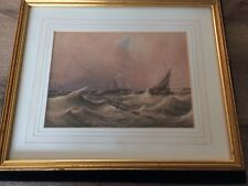 Antique Nautical Watercolour Depicting Three Ships In Rough Seas