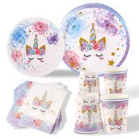 40Pcs Unicorn Party Tableware Set Happy Girl Birthday Baby Shower Party Decor
