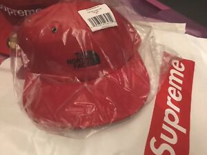New Supreme X The North Face Red Leather 6 Panel Strap Back Hat FW18 Week 9