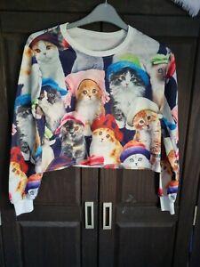 Cropped Cats Sweatshirt Size Large BNWOT
