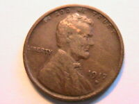 1917-D Lincoln Very Fine VF Original Brown Toned 1 Wheat Cent One Penny US Coin