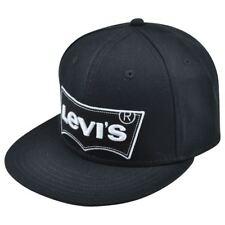 Levis Famous Brand Name Denim Jeans Solid Black Logo Flat Bill Snapback Hat Cap
