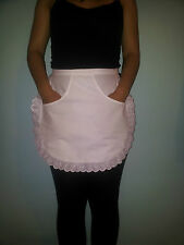 WHITE WAITRESS KITCHEN COOKING MAID HALF PINNY SCHOOL APRON WITH FRONT POCKET