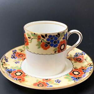 Aynsley Vintage English China Demitasse Cup & Saucer,  Autumn Floral Band & Gilt