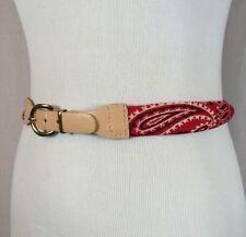 Vintage Womens Red Paisley Bandana Scarf Handkerchief Fashion Belt Size Medium