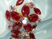 Great Pronged Red Pink Rhinestone Flower Brooch Vintage 50's 111S0
