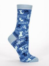 Women's Crew socks, Dogs Blue Q, Cotton, Novelty, Funny, Gifts, One Size