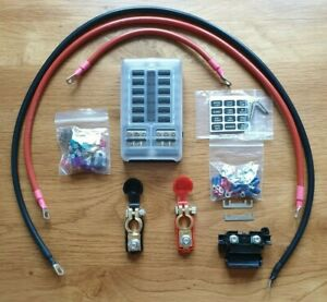 12v Camper van 12 Blade Fuse Box 1.5m Cable Kit (With Battery Terminals)