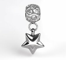 Stainless Steel Dangle Star Charm European Bead With Faceted Cubic Zirconia's