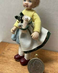 VTG Artisan Black American Rag Doll Nanny & Tiny Baby Dollhouse Miniature 1:12