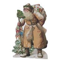 Victorian Santa Claus Brown Coat Large CHRISTMAS Tree Ornament Die Cut