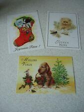 LOT de 3 CARTES de NOEL / NOUVEL AN fantaisies avec enveloppes - NEUVES