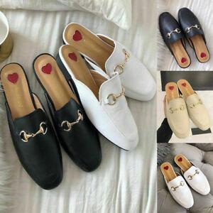 UK Womens Leather Backless Loafer Slipper Mule Slide Shoes Slip On Round TOE