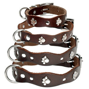 Soft Leather Pet Dog Collars Cute Paw Print Studded for Small Medium Dogs XXS-M