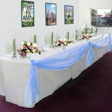LIGHT BLUE Elegant Wedding Table Valance Chair Decor Sheer Swag Fabric Any Party