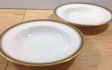 Antique Spode Copeland Majestic 2 Rimmed Soup Bowls Gold Cobalt Chain Dots 1900s