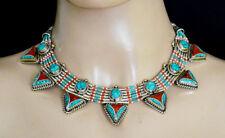 Asian silver necklace Handmade ethnic fashion jewelry turquoise stone AZ10