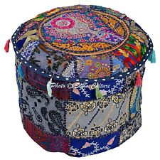 """Ethnic Round Pouf Cover Patchwork Embroidered Floor Pouffe Cover Cotton 18"""" Blue"""