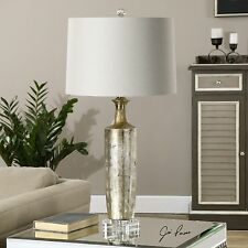 NEW TEXTURED CERAMIC METALLIC BRONZE TABLE LAMP LINEN SHADE CRYSTAL FOOT DETAIL