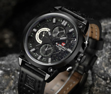 Watch Mens Wristwatch Chronograph Sport Quartz Resistant Luxury Stainless Watch