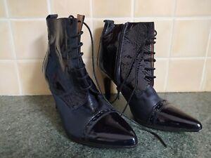 Women's Hispanitas Ankle Boots Size 38 5 Laces Ladies Glove