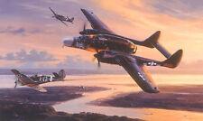 Nicolas Trudgian print, Twilight Conquest, signed by 4 P-61 Black Widow pilots
