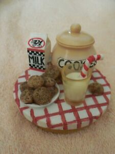 MILK & COOKIES CANDLE TOPPER - 2000 OUR AMERICA GIFT - UNUSED IN BOX