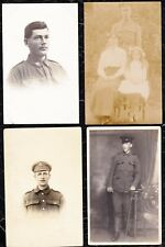 4 VINTAGE WW1  REAL PHOTOGRAPHIC POSTCARDS OF SOLDIERS - UNPOSTED