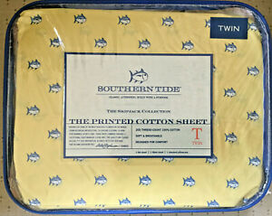 SOUTHERN TIDE SKIP JACK YELLOW/BLUE FISH SHEET SET - TWIN - NEW IN PACKAGE
