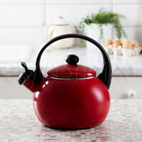 ENAMEL Stainless Steel WHISTLING Kettle 2.2L Electric Gas HOBS Stove Top RED