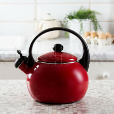 ENAMEL Stainless Steel WHISTLING Kettle Electric Gas HOBS Stove Top RED