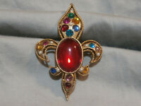 Vintage Rhinestone Fleur de Lis Scarf Clip Gold Tone Colorful Jelly Belly Stones