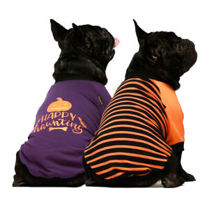 Fitwarm 2-Pack Halloween Dog Shirt for Pet Clothes 100% Cotton Puppy T-Shirts