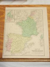 c1860 Antique Map//WESTERN EUROPE/FRANCE, PORTUGAL, SPAIN, BELGIUM, NETHERLANDS