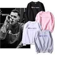 Men Women Embroidery Champion Pullover Sweatshirt Sweater Round Neck Long Sleeve